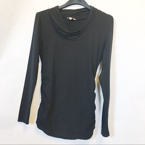 Cabi Black Ruched Side Cowl Neck Long sleeve Top